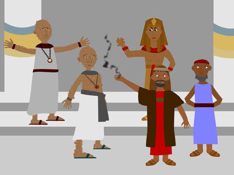 Next, God commanded Moses to take some ashes from a furnace and throw them in the air in front of Pharaoh. Horrible boils appeared on all the Egyptians and the magicians suffered so much from them they could not stand before Moses. But still Pharaoh refused to free the Israelite slaves. – Slide 13