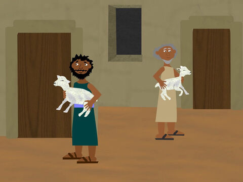 Then God told the Israelites they must choose a lamb or a goat for each family and sacrifice that evening. Then they were to sit and have a special meal that would become a special festival to be celebrated every year. – Slide 3