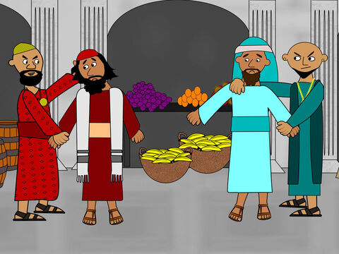 The men blamed Paul and Silas for losing all their money and they grabbed hold of them in the market place. – Slide 7