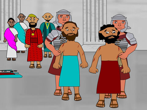The magistrates ordered Paul and Silas to be beaten across their backs. – Slide 9