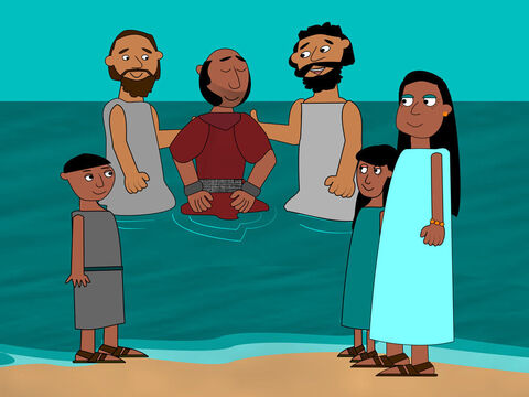 The jailer took care of Paul and Silas. He washed their wounds and then he and all his family were baptised. – Slide 15