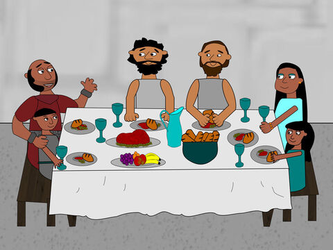After this the jailer took Paul and Silas to his house to enjoy a meal together. He was very happy to be a Christian along with all his family and gave thanks to God. – Slide 16
