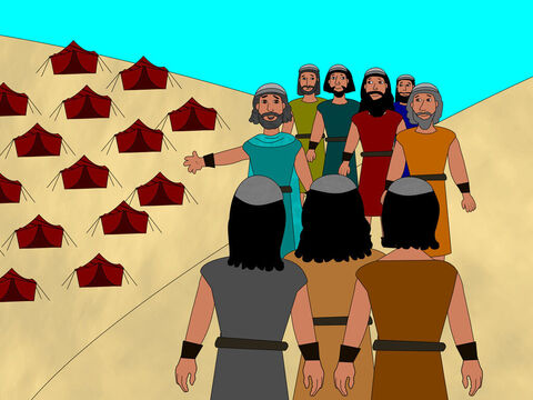 Then Joshua told his officers to go to everyone in the camp and tell them, 'Get some food ready, soon we cross the Jordan river.' – Slide 2