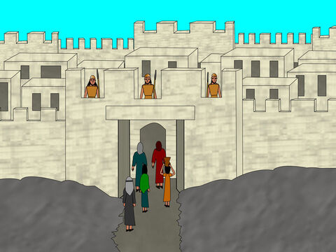 The spies found a place to cross the river and entered the city of Jericho. – Slide 4