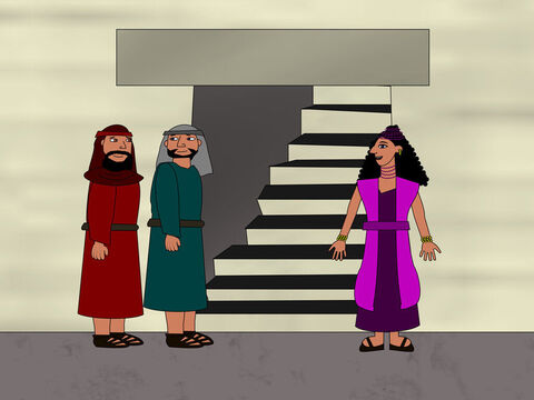 The two spies met a woman called Rahab who let them stay in her house. – Slide 5