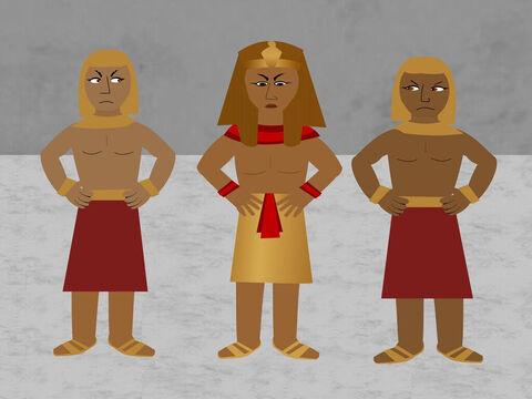 Pharaoh had finally let them go but then changed his mind. He wanted them back as his slaves. <br/>'Why have we let them go,' he asked, 'we need them to serve us?' – Slide 3
