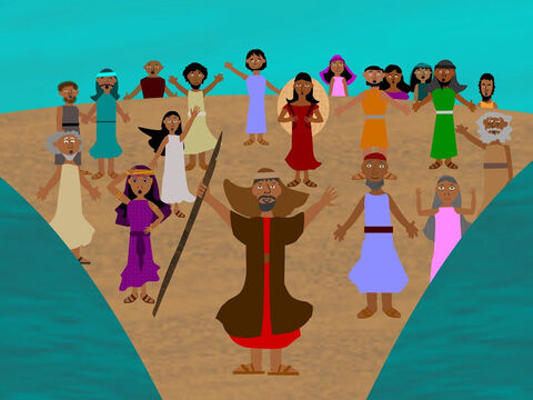 But God was looking after His people. God told Moses to lift up his rod and as he did so, the Red Sea parted. There was a dry path through the sea for them to cross to the other side. They all made it safely to the other side. – Slide 5