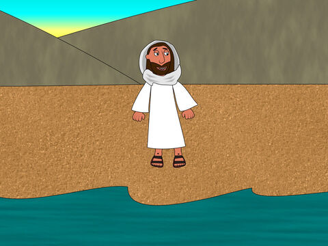 Early the next morning Jesus stood on the shore but the disciples did not know it was Him. 'Children, have you caught any fish?' He asked them. – Slide 3
