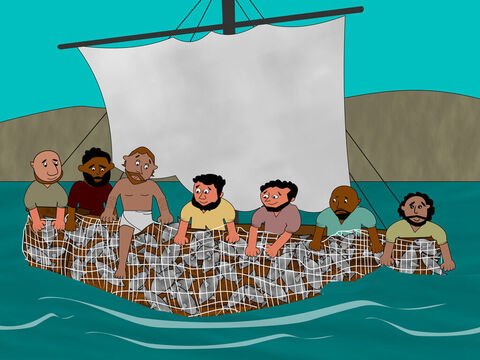 They did as Jesus told them and caught so many fish they could not pull the net back into the boat. – Slide 6