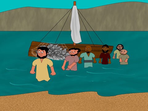 The rest of the disciples came ashore dragging the net with them. They were not far from the beach. – Slide 9