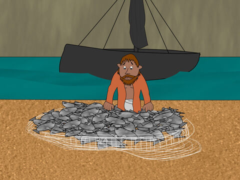 Peter quickly went and dragged the net up the shore. It was full of great fish - 153 of them - but the net had not broken. – Slide 11