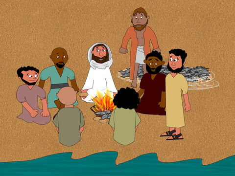 Jesus asked them to come and eat. None of the disciples asked, 'Who are you?' They knew it was the Lord. This was the third time Jesus appeared to the disciples after He rose from the dead. – Slide 12