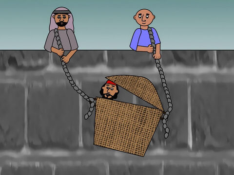 However not everyone liked Saul and some searched the city hoping to capture and kill him. Saul found out about their plans and some of his friends helped him to escape over the city walls hiding in a basket. – Slide 11