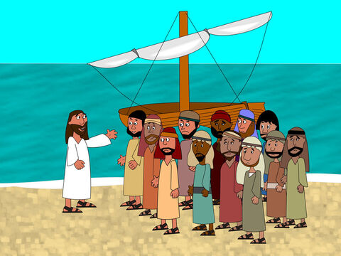 Once at the end of a busy day Jesus asked His disciples to get into their boat and go to the other side of the lake. – Slide 1