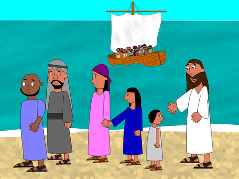 Then Jesus said goodbye to the large groups of people that had been with Him all day. – Slide 2