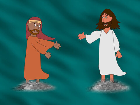 So Peter got out of the boat and began to walk on the water towards Jesus. – Slide 8