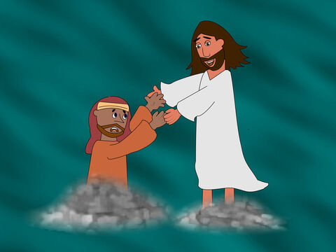 Suddenly Peter looked at how strong the wind was and he became afraid. He began to cry out for Jesus to save him. Jesus stretched out HIs hand and took hold of Peter. 'Why did you have so little faith?' Jesus asked. – Slide 9