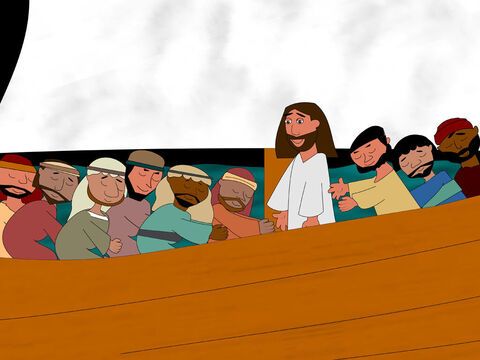 When Jesus and Peter got back to the boat, the wind stopped blowing. <br/>All the disciples were amazed. 'You are God's Son!' they declared and worshipped Jesus. – Slide 10