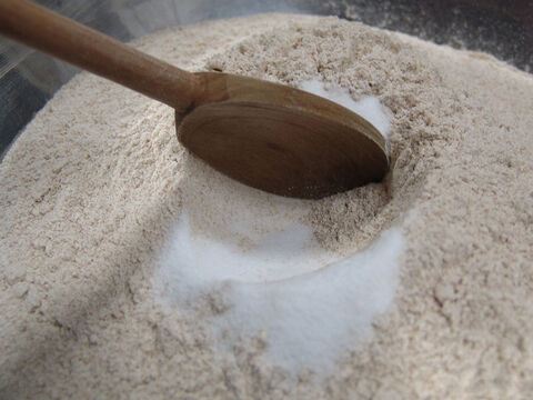 Leviticus 2:13 states that all grain offerings are to be seasoned with salt. Shelley writes, 'I add 1 tablespoon of salt to each loaf. It is salted to my taste, as there is not a specific amount of salt mentioned in the Bible.' – Slide 3