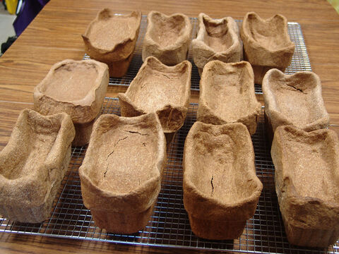 Twelve loaves were baked each week.  The loaves are very dense, and need a long, low-temperature baking time. – Slide 12