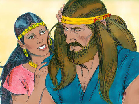 So Delilah asked Samson, 'Please tell me what makes you so strong and what it would take to tie you up securely.'Samson replied, 'If I were tied up with seven new bowstrings, I would become as weak as anyone else.' – Slide 4