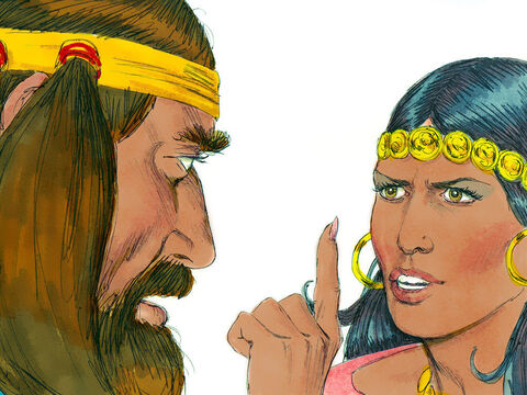 'You've been making fun of me and telling lies! Now tell me how you can be tied up securely,' Delilah demanded.Samson replied, 'If you were to weave the seven braids of my hair into the fabric on your loom and tighten it with the loom shuttle, I would become as weak as anyone else.' – Slide 8