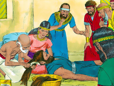 Delilah lulled Samson to sleep with his head in her lap, and then she called in a man to shave off the seven locks of his hair. The Philistine rulers came with their money in their hands. Delilah cried out, 'Samson! The Philistines have come to capture you!' – Slide 11