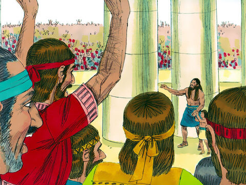 The half-drunk people demanded, 'Bring out Samson so he can amuse us!' So Samson was led from prison so they could jeer him. – Slide 14