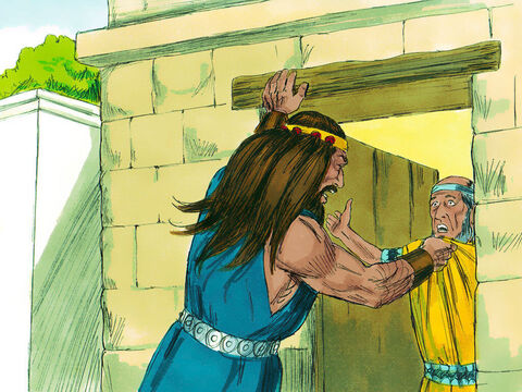 Samson left his wedding celebrations to return to his parents. Later on, during the wheat harvest, Samson took a present of a young goat to his wife. Her father would not let Samson in and explained as he thought Samson hated her he had given her in marriage to his best man. He offered to give Samson another of his daughters in marriage instead. A furious Samson replied, 'I cannot be blamed for everything I am going to do to you Philistines.' – Slide 1