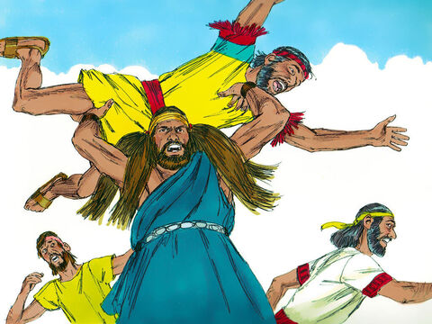 When Samson heard what had happened he vowed, 'I won't rest until I take my revenge on you!' So he attacked the Philistines with great fury, killing many of them. – Slide 5