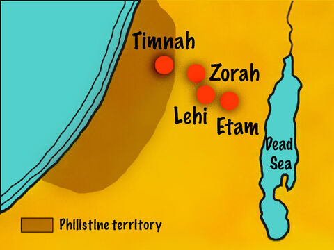 The Philistines retaliated by setting up camp in Judah and spreading out near the town of Lehi. – Slide 7