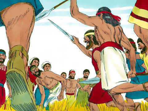 The men of Judah asked the Philistines, 'Why are you attacking us?' 'The Philistines replied, We've come to capture Samson and pay him back for what he did to us.' – Slide 8