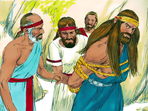 'We have come to tie you up and hand you over to the Philistines,' the men of Judah told Samson. When they promised not to kill him, Samson allowed them to tie him up with two new ropes. – Slide 10