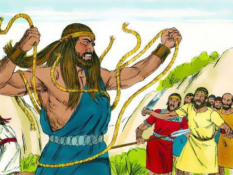 As Samson arrived at Lehi, the Philistines shouted in triumph. But the Spirit of the Lord made Samson so powerful he snapped the ropes on his arms as if they were burnt strands of flax, and they fell from his wrists. – Slide 11