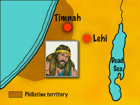 Samson was really thirsty from his efforts so the Lord caused water to gush from a hollow in the ground at Lehi. Samson judged Israel for twenty years during the period when the Philistines dominated the land. – Slide 13