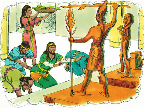 Once again, the Israelites started worshipping idols and did wrong in God's eyes. – Slide 1