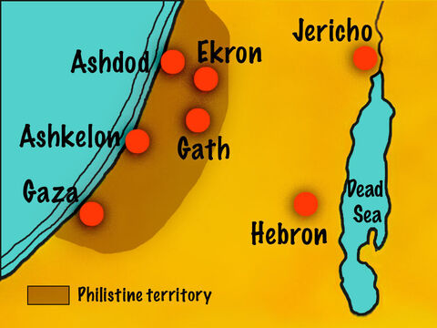 God allowed them to be subject for 40 years to the Philistines who lived along the southern coast and had five large cities, Gaza, Ashkelon, Gath, Ekron, and Ashdod. – Slide 2