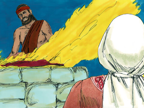 Then Manoah took a young goat and a grain offering and offered it on a rock as a sacrifice to the Lord.  – Slide 8