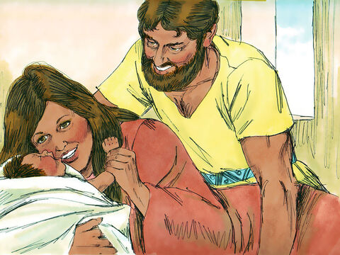 Some time later the son they had been promised was born. They named him Samson. – Slide 10