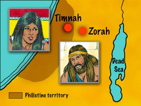 One day when Samson was in Timnah, one of the Philistine women caught his eye.He returned home, demanding, 'I want to marry a young Philistine woman in Timnah. Get her for me.' – Slide 12