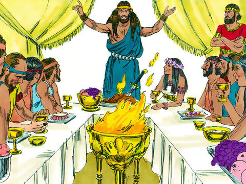 Samson threw a party at Timnah, as was the custom for elite young men. When the bride's parents saw him, they selected thirty young men from the town to be his companions. Samson announced, 'Let me tell you a riddle. If you solve it during these seven days of the celebration, I will give you thirty fine linen robes and thirty sets of festive clothing. But if you can't solve it, then you must give me thirty fine linen robes and thirty sets of festive clothing.' They agreed.Samson put the riddle to them, 'Out of the one who eats came something to eat; out of the strong came something sweet.' – Slide 15