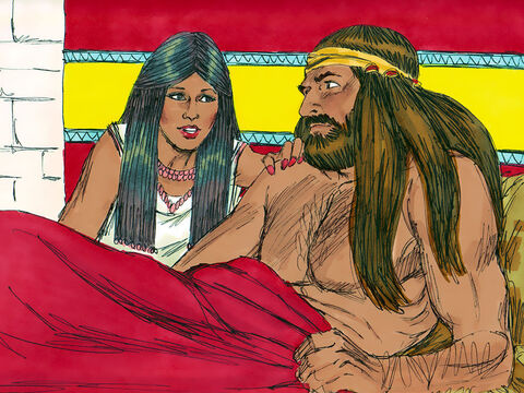 So, Samson's wife came to him in tears and said, 'You don't love me; you hate me! You have given my people a riddle, but you haven't told me the answer.' Samson refused. She kept crying and nagging Samson for the answer for the remainder of the feast. On the last day of the feast Samson gave in to her pressure and told her the answer. She immediately betrayed him and told the guests. – Slide 17