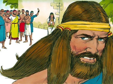 Samson was furious about what had happened, and he went back home to live with his father and mother.His wife was given in marriage to the man who had been Samson's best man at the wedding. – Slide 20