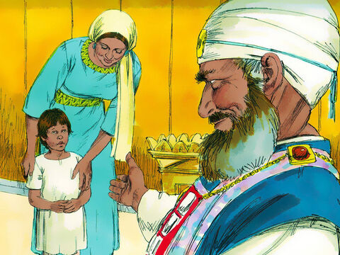 When Samuel was old enough Hannah kept her promise and came to the Tabernacle to give her boy to God and be trained to serve Him. 'I asked the Lordto give me this boy,' she declared. 'God has answered my prayer. Now I am giving him to the Lordand he will belong to Him his whole life.' – Slide 12