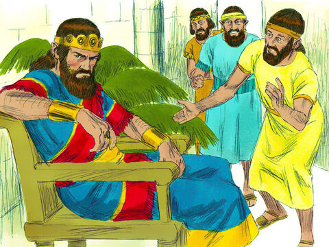 Meanwhile King Saul was being tormented by evil and in a bad mood. His servants said, 'Jesse has a son who plays the harp. He is a good musician and Lord is with him. When you are tormented, let him play his harp and you will be alright again.' – Slide 13