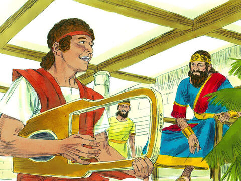 David served King Saul by playing his harp when the King was tormented by evil. Saul, at first, liked him very much and chose him as the man to carry his weapons. – Slide 14