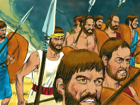 The men of Israel rushed out of Mizpah and pursued the Philistines. – Slide 20