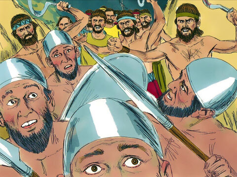 The Philistines were heavily defeated and fled back to their territory pursued by the Israelites. – Slide 21