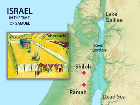 Every year his parents Elkanah and Hannah would travel from Ramah to visit him and his mother would bring him a new coat. Eli blessed Elkanah and his wife and asked God to give them other children to take the place of Samuel who had been given to the Lord. The Lord gave Hannah three sons and two daughters. – Slide 2