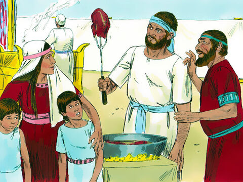 Whenever anyone offered a sacrifice, Eli's sons would send over a servant with a three-pronged fork to take some of the meat. – Slide 4